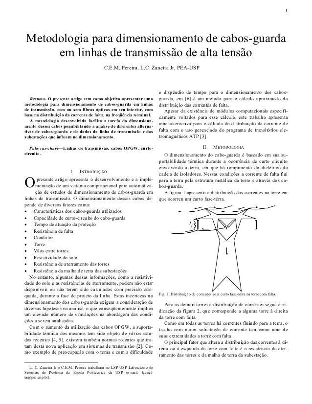 1Metodologia para dimensionamento de cabos-guarda     em linhas de transmissão de alta tensão                             ...