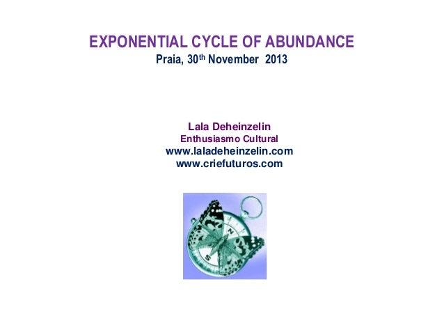 EXPONENTIAL CYCLE OF ABUNDANCE Praia, 30th November 2013  Lala Deheinzelin Enthusiasmo Cultural  www.laladeheinzelin.com w...