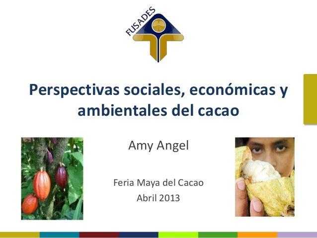 Perspectivas sociales, económicas y ambientales del cacao Amy Angel Feria Maya del Cacao Abril 2013