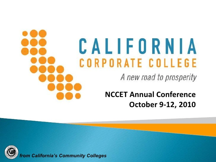 California Corporate College Presentation at NCCET 100910