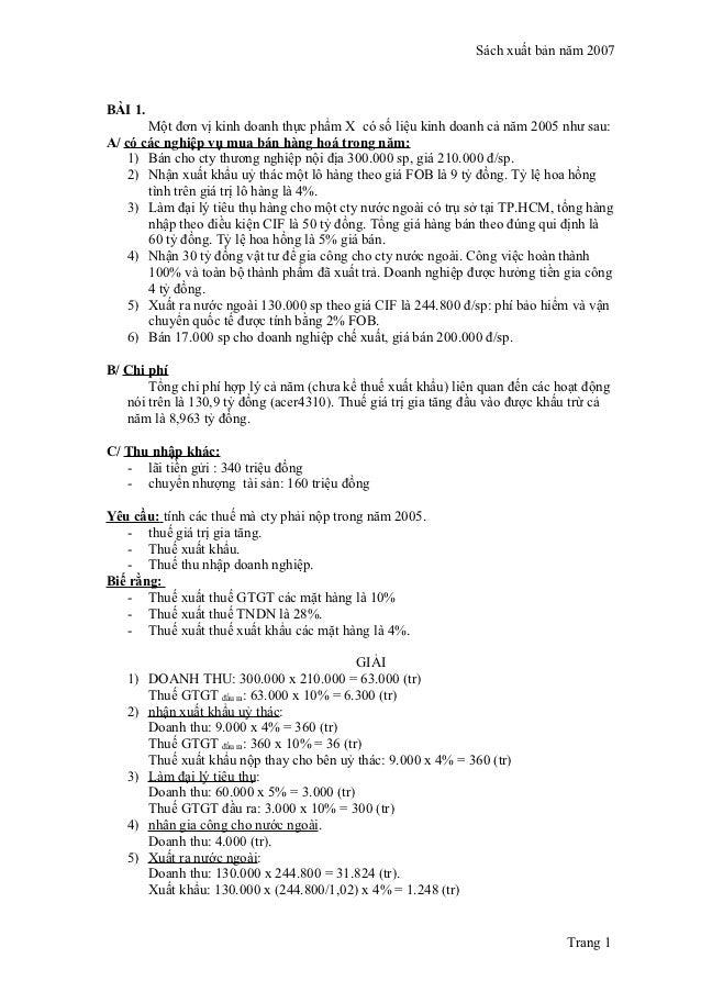 Các dạng bài tập và lời giải kế toán thuế
