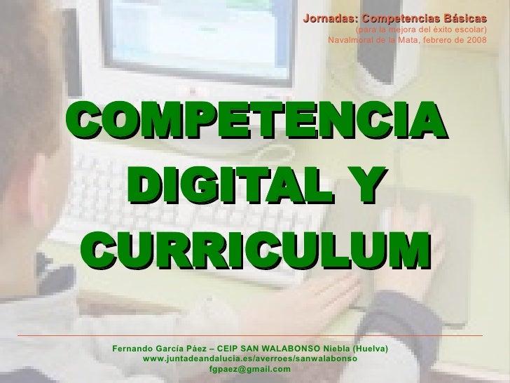 Jornadas: Competencias Básicas                                                    (para la mejora del éxito escolar)      ...
