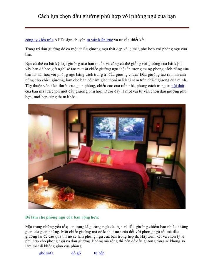 Cách lựa chọn đầu giường phù hợp với phòng ngủ của bạncông ty kiến trúc AHDesign chuyên tư vấn kiến trúc và tư vấn thiết k...