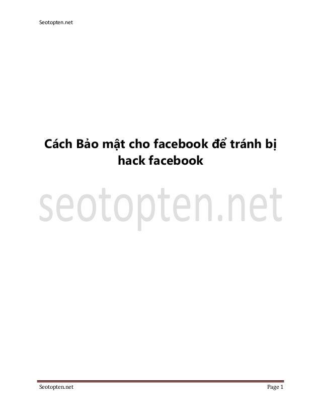 Cách Bảo mật cho facebook để tránh bị hack nick facebook - seotopten.net