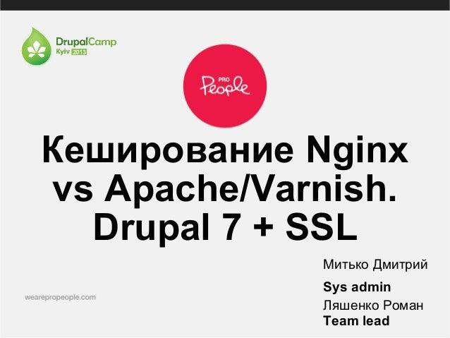 Кеширование Nginxvs Apache/Varnish.Drupal 7 + SSLМитько ДмитрийSys adminЛяшенко РоманTeam lead