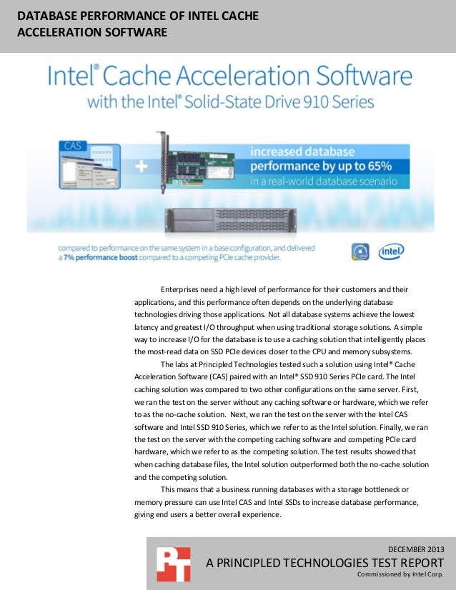 Database Performance of Intel Cache Acceleration Software
