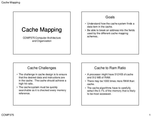 Cache Mapping COMP375 1 Cache MappingCache Mapping COMP375 Computer Architecture d O i tiand Organization Goals • Understa...