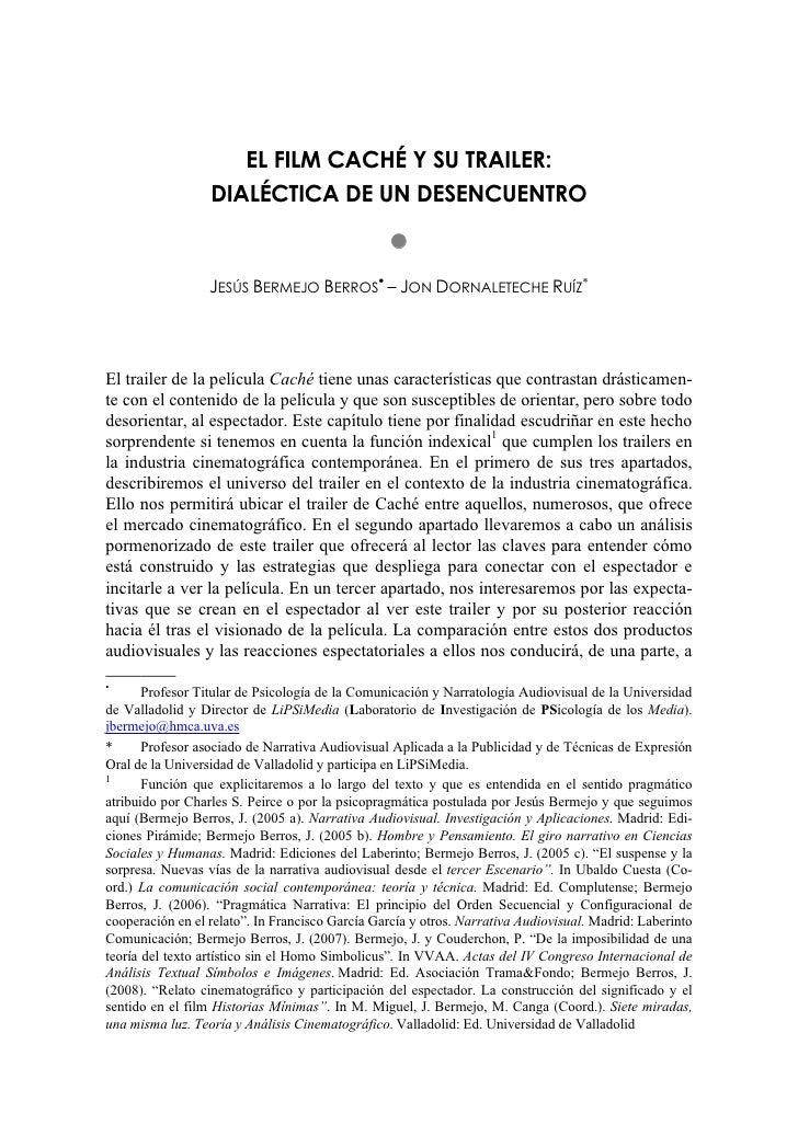 EL FILM CACHÉ Y SU TRAILER:                   DIALÉCTICA DE UN DESENCUENTRO                                               ...