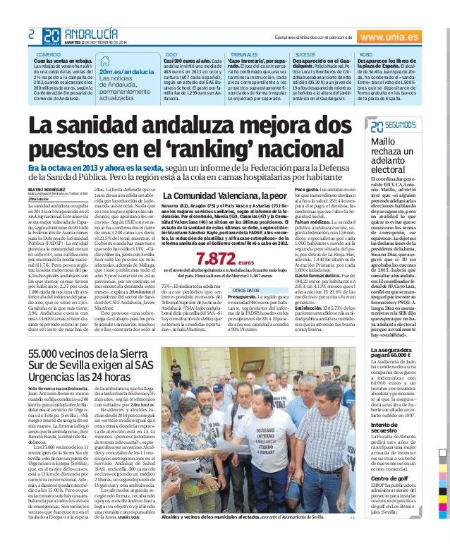 2 ANDALUCÍA MARTES 2 DE SEPTIEMBRE DE 2014   COMERCIO  Caen las ventas en rebajas.  Las rebajas de verano han sufri-do  un...