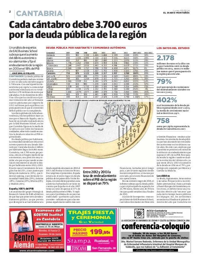 Cada cántabro debe 3700 euros por la deuda pública de la región. Estudio SRC La Deuda Pública 2013, El Diario Montañés