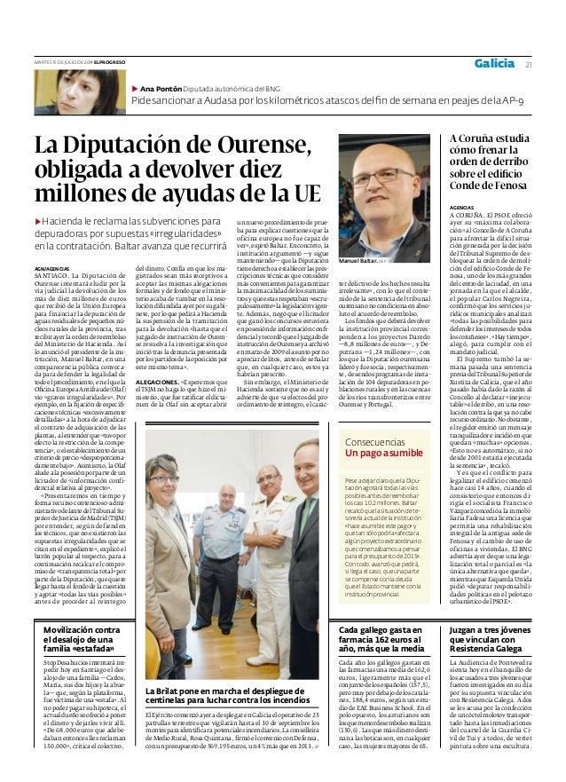 La Diputación de Ourense, obligada a devolver diez millones de ayudas de la UE ▶ Hacienda le reclama las subvenciones para...