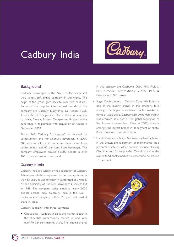 Cadbury India  Background                                                    in this category are Cadbury's Dairy Milk, Fr...