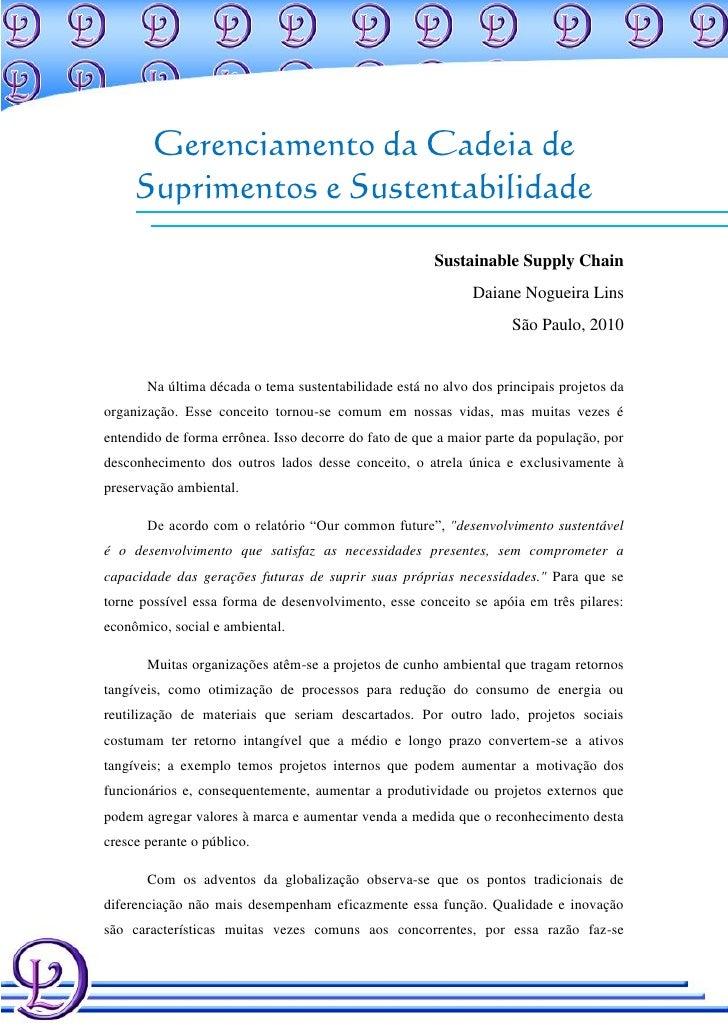 Gerenciamento da Cadeia de     Suprimentos e Sustentabilidade                                                       Sustai...