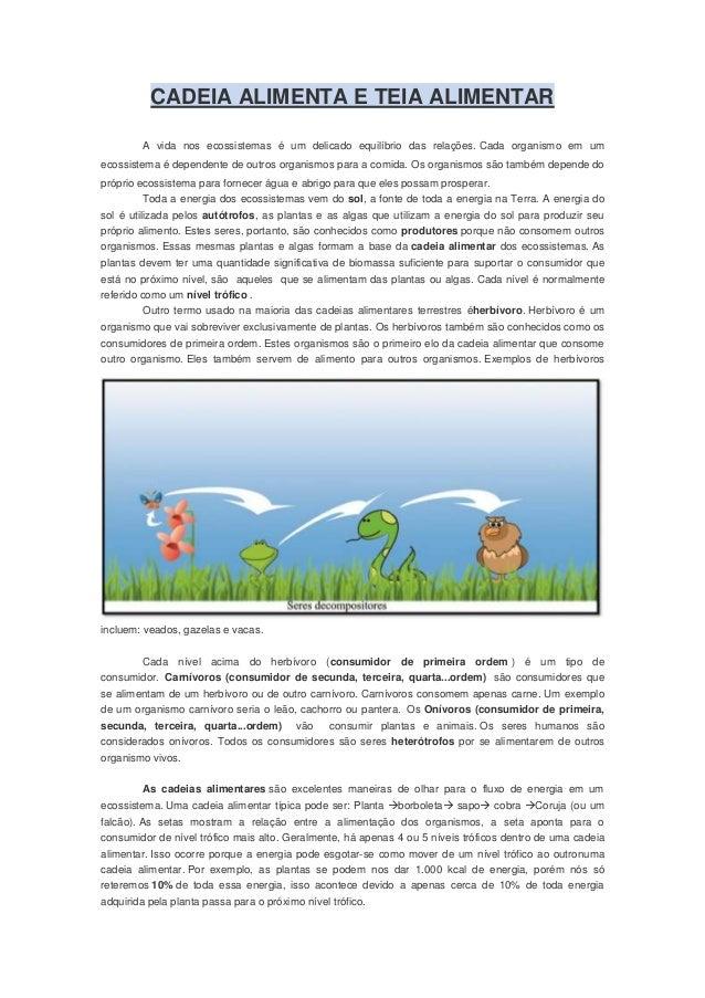 CADEIA ALIMENTA E TEIA ALIMENTARA vida nos ecossistemas é um delicado equilíbrio das relações. Cada organismo em umecossis...