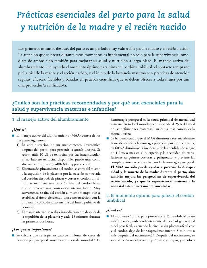 PRACTICAS ESENCIALES DEL PARTO PARA MEJORAR LA SALUD Y NUTRICION DE LA MADRE Y EL RN