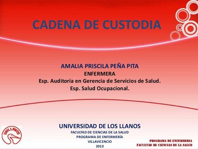 AMALIA PRISCILA PEÑA PITA ENFERMERA Esp. Auditoría en Gerencia de Servicios de Salud. Esp. Salud Ocupacional. CADENA DE CU...