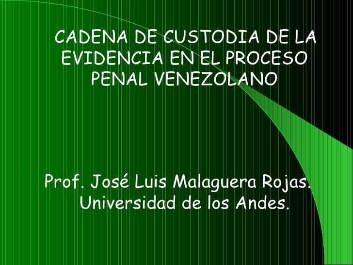 CADENA DE CUSTODIA DE LA    EVIDENCIA EN EL PROCESO       PENAL VENEZOLANO                Prof. José Luis Malaguera Ro...