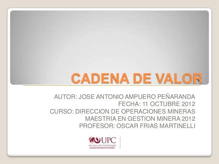 CADENA DE VALOR AUTOR: JOSE ANTONIO AMPUERO PEÑARANDA                   FECHA: 11 OCTUBRE 2012CURSO: DIRECCION DE OPERACIO...