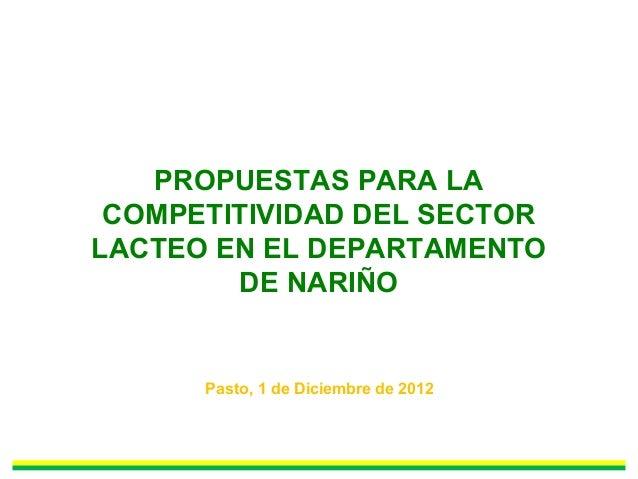 PROPUESTAS PARA LA COMPETITIVIDAD DEL SECTOR LACTEO EN EL DEPARTAMENTO DE NARIÑO Pasto, 1 de Diciembre de 2012