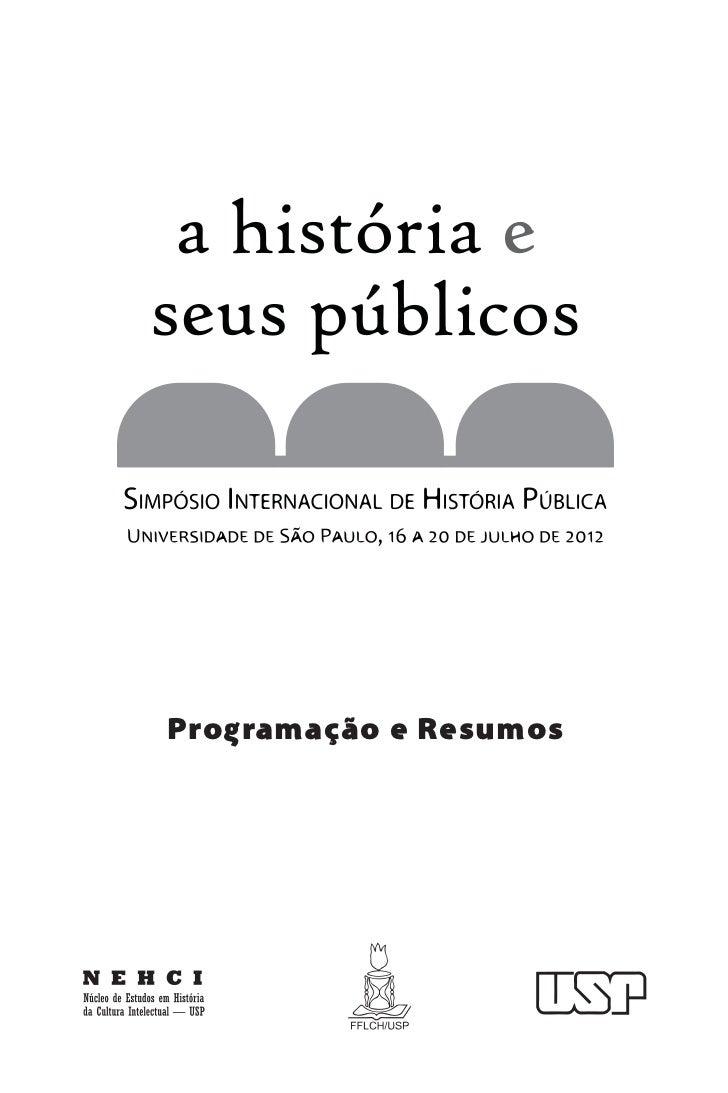 Simpósio Internacional História Pública: caderno de resumos