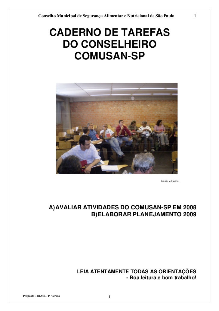 Conselho Municipal de Segurança Alimentar e Nutricional de São Paulo               1                   CADERNO DE TAREFAS ...