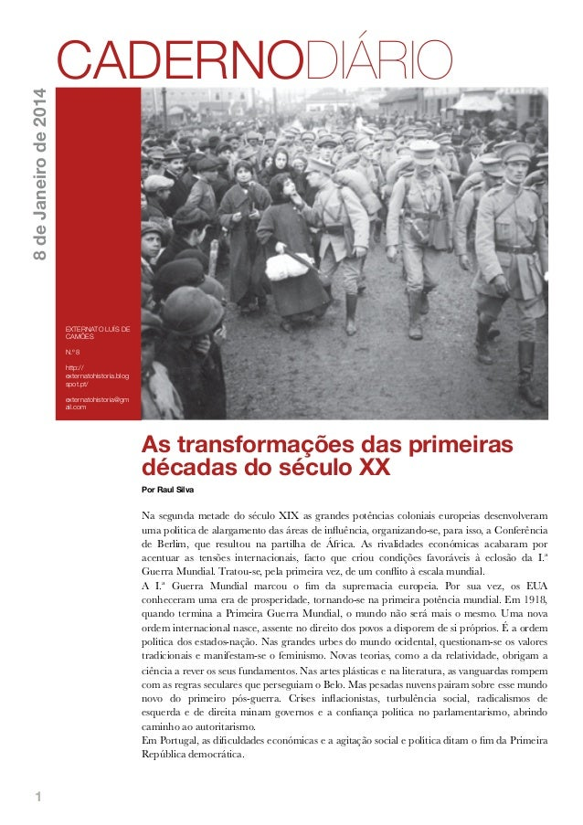 8 de Janeiro de 2014  CADERNODIÁRIO  EXTERNATO LUÍS DE CAMÕES N.º 8 http:// externatohistoria.blog spot.pt/ externatohisto...