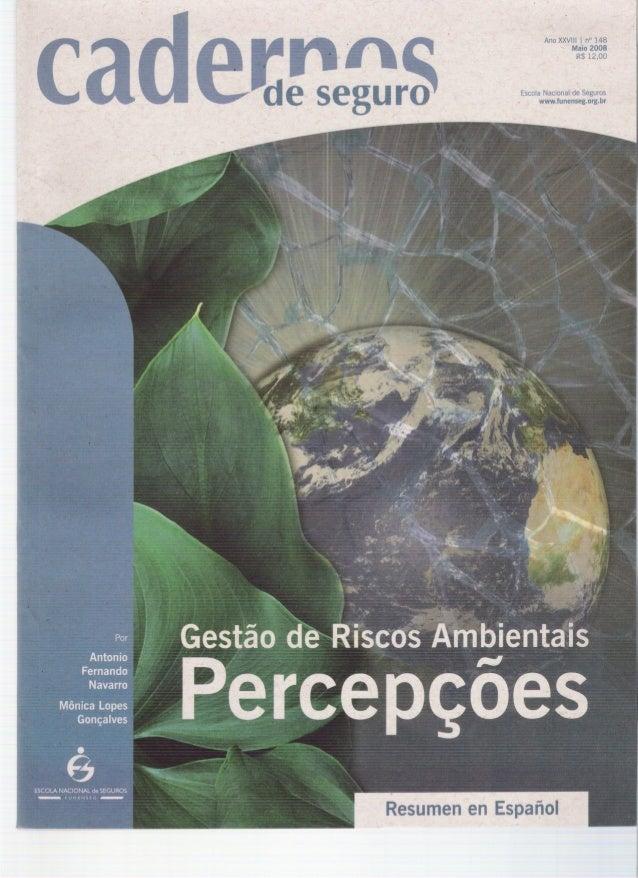 Cadernos de Seguro n°148 maio 2008: Gestão de Riscos Ambientais - Percepções