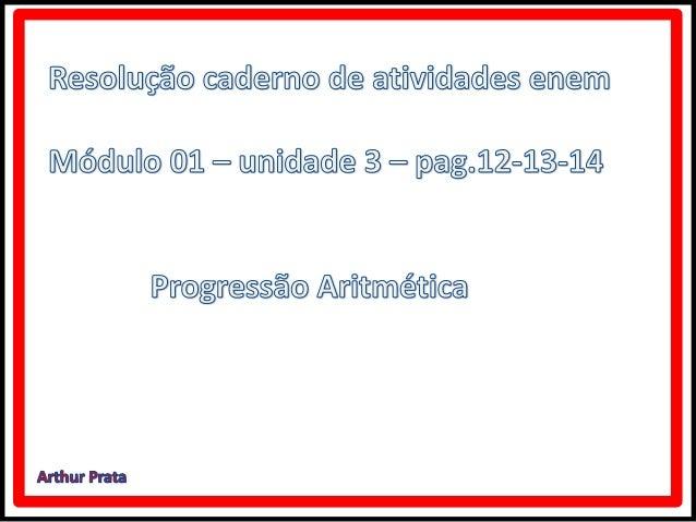 Caderno de atividades Enem Progressão Aritmética