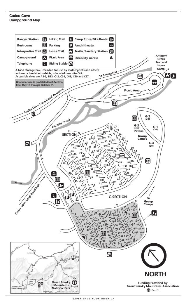 Great Smoky Mountain National Park- Cades Cove CampGround Map