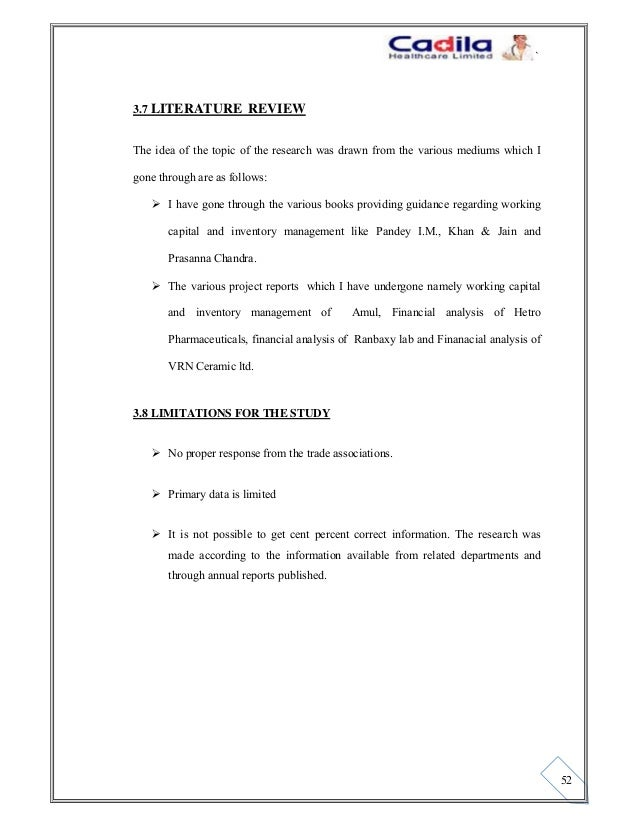 Literature review of working capital management