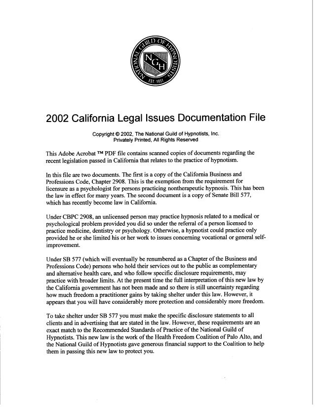 2002 California Legal Issues Documentation File