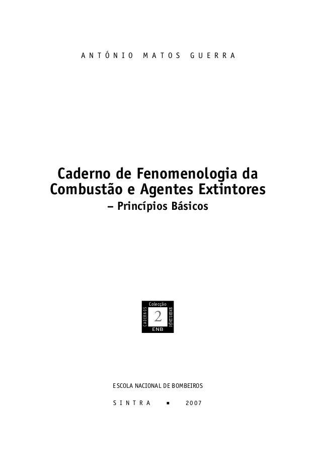 A N T Ó N I O      M A T O S                             G U E R R A     Caderno de Fenomenologia da    Combustão e Agente...