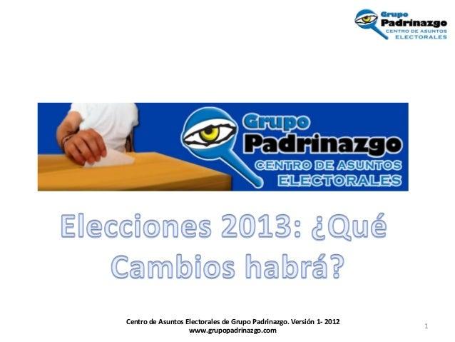 Centro de Asuntos Electorales de Grupo Padrinazgo. Versión 1- 2012                                                        ...