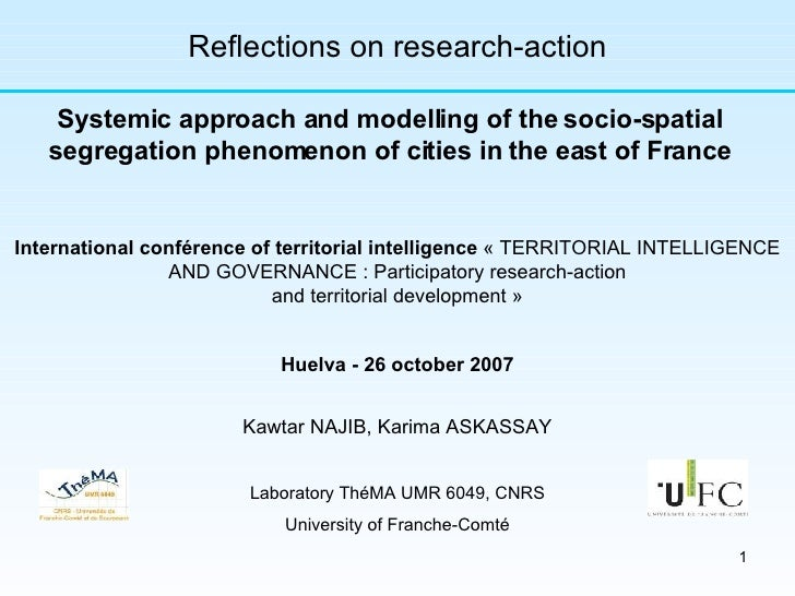 Kawtar NAJIB, Karima ASKASSAY Laboratory ThéMA UMR 6049, CNRS University of Franche-Comté Reflections on research-action S...