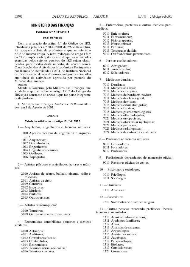 5390  N.o 193 — 21 de Agosto de 2001  DIÁRIO DA REPÚBLICA — I SÉRIE-B  MINISTÉRIO DAS FINANÇAS Portaria n.o 1011/2001 de 2...