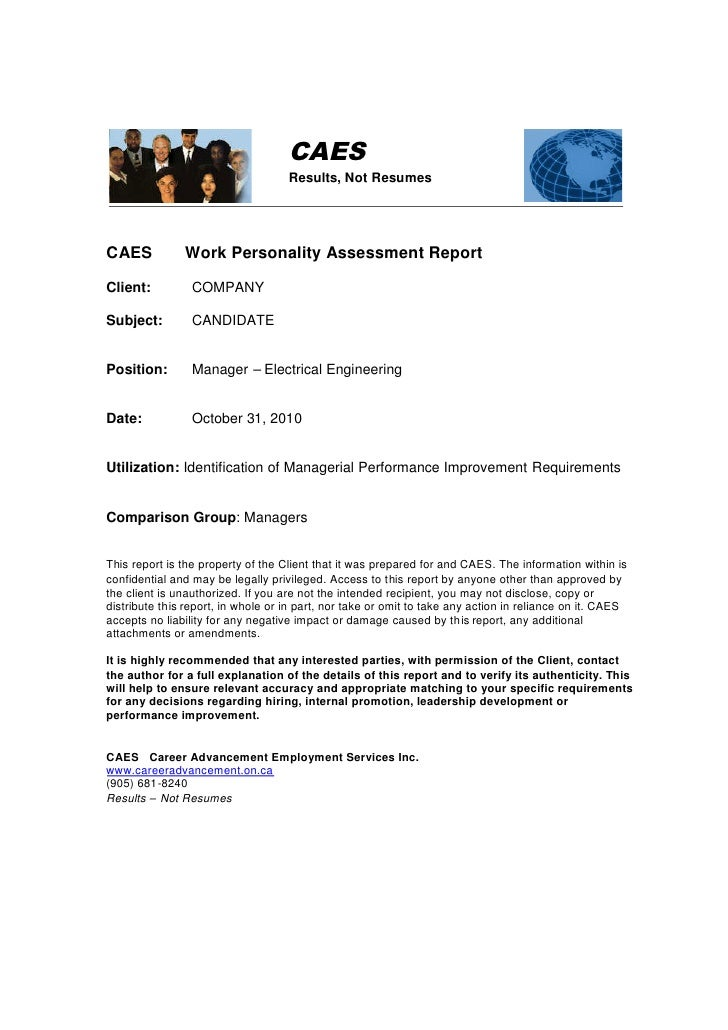 CAES   Example Of Managerial Promotion Assessment