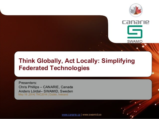 www.canarie.ca | www.swamid.se Presenters: Chris Phillips – CANARIE, Canada Anders Lördal– SWAMID, Sweden Think Globally, ...