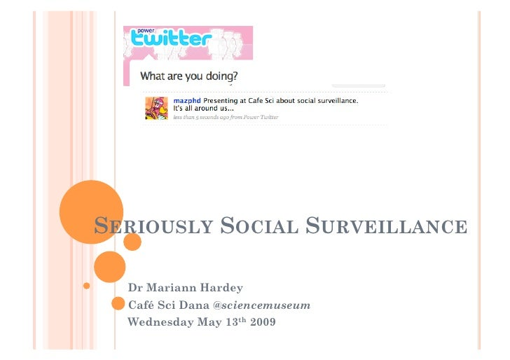 SERIOUSLY SOCIAL SURVEILLANCE    Dr Mariann Hardey   Café Sci Dana @sciencemuseum   Wednesday May 13th 2009