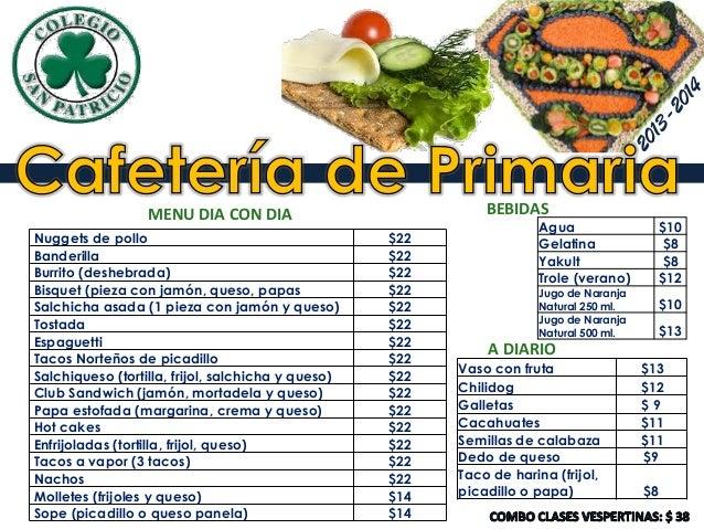 Cafeteria de primaria 2013 2014 pdf for Cafeteria escolar proyecto
