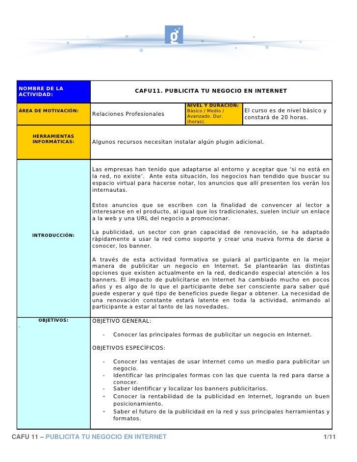 NOMBRE DE LA                         CAFU11. PUBLICITA TU NEGOCIO EN INTERNET  ACTIVIDAD:                                 ...