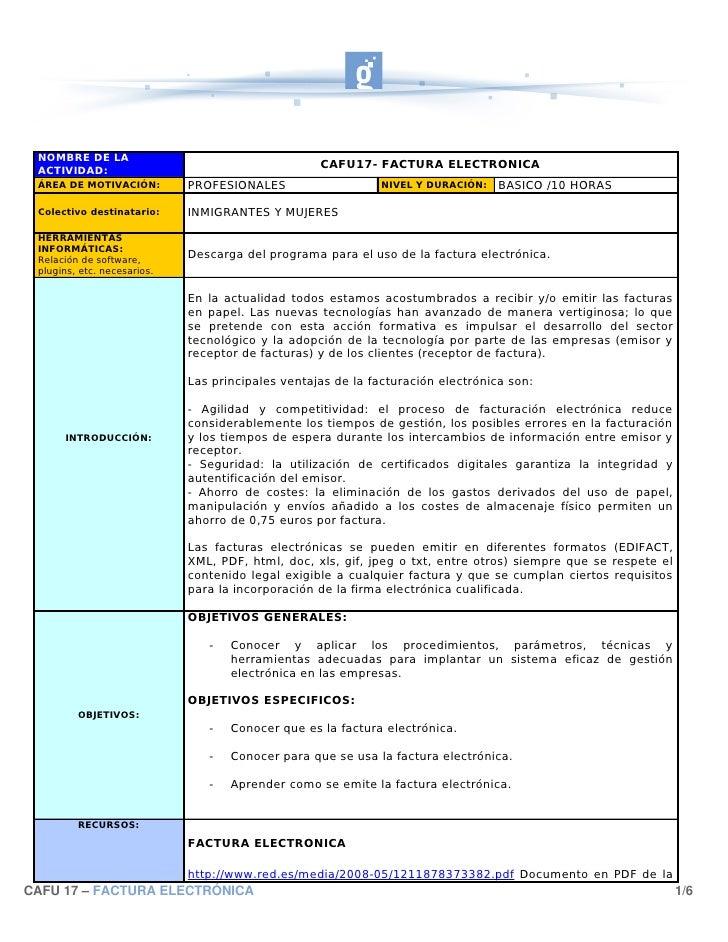 NOMBRE DE LA  ACTIVIDAD:                                                    CAFU17- FACTURA ELECTRONICA  ÁREA DE MOTIVACIÓ...