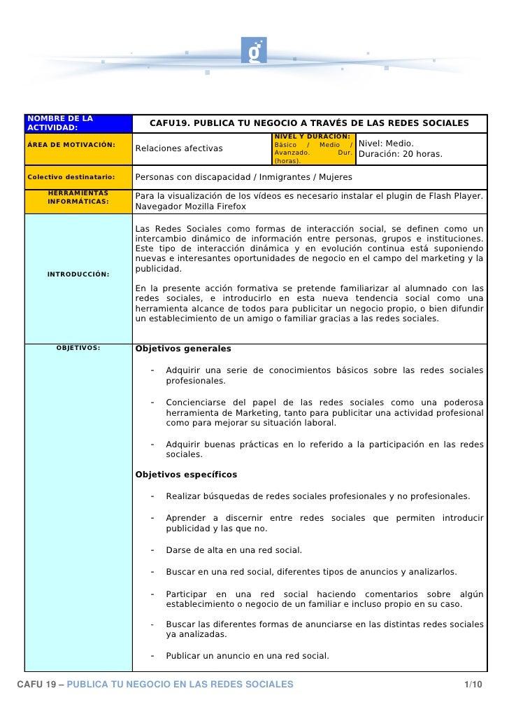 NOMBRE DE LA  ACTIVIDAD:                               CAFU19. PUBLICA TU NEGOCIO A TRAVÉS DE LAS REDES SOCIALES          ...