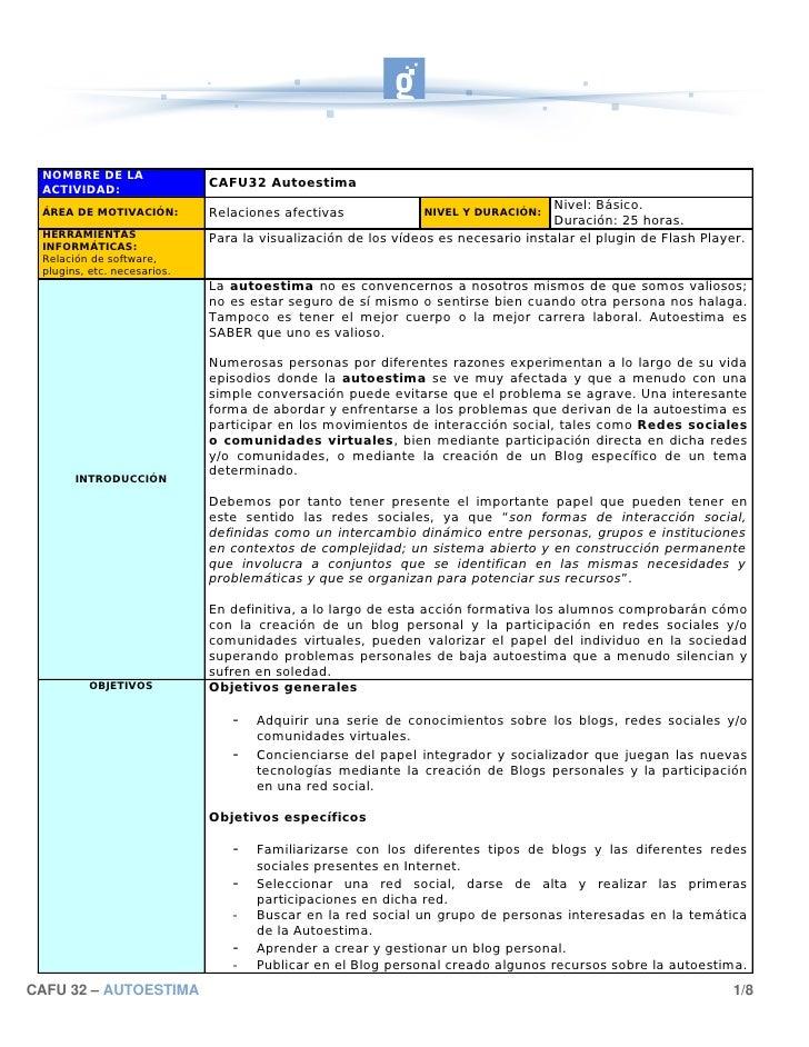 NOMBRE DE LA  ACTIVIDAD:                              CAFU32 Autoestima                                                   ...