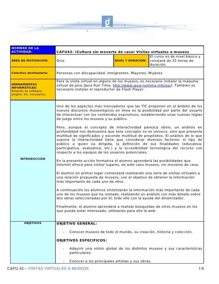 NOMBRE DE LA  ACTIVIDAD:                  CAFU43- ¡Cultura sin moverte de casa! Visitas virtuales a museos                ...