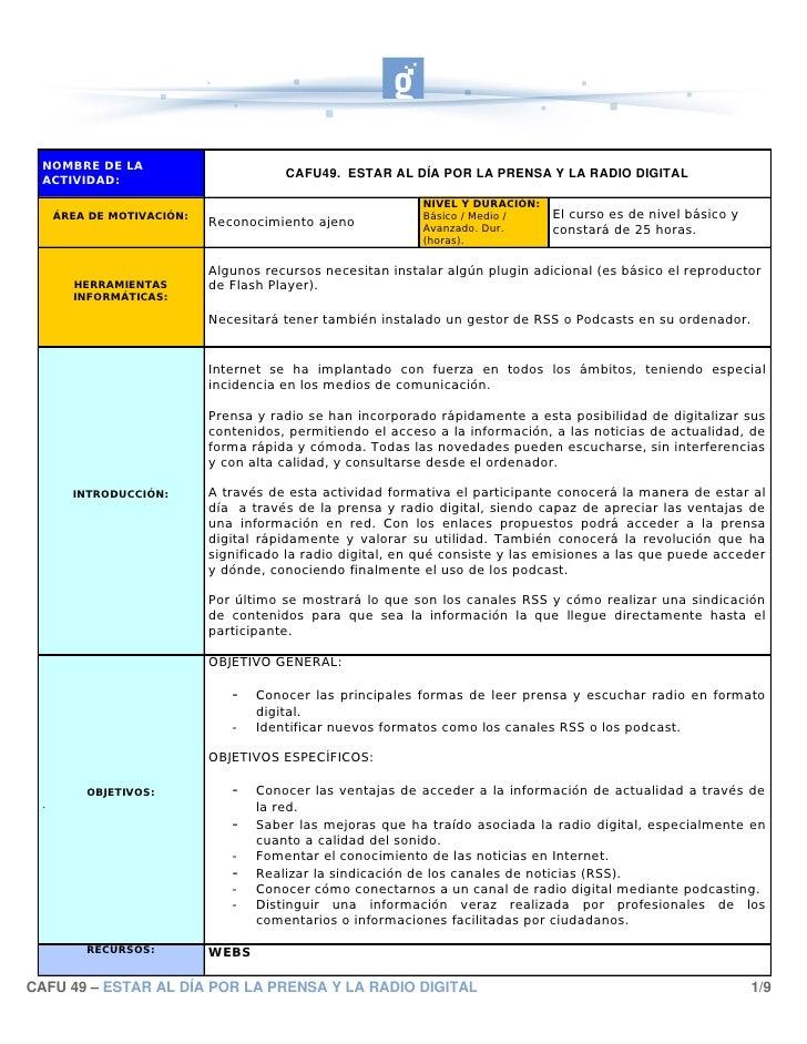 NOMBRE DE LA  ACTIVIDAD:                                       CAFU49.ESTARALDÍAPORLAPRENSAYLARADIODIGITAL     ...