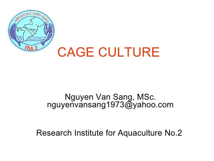CAGE CULTURE Nguyen Van Sang, MSc. nguyenvansang1973@yahoo.com Research Institute for Aquaculture No.2
