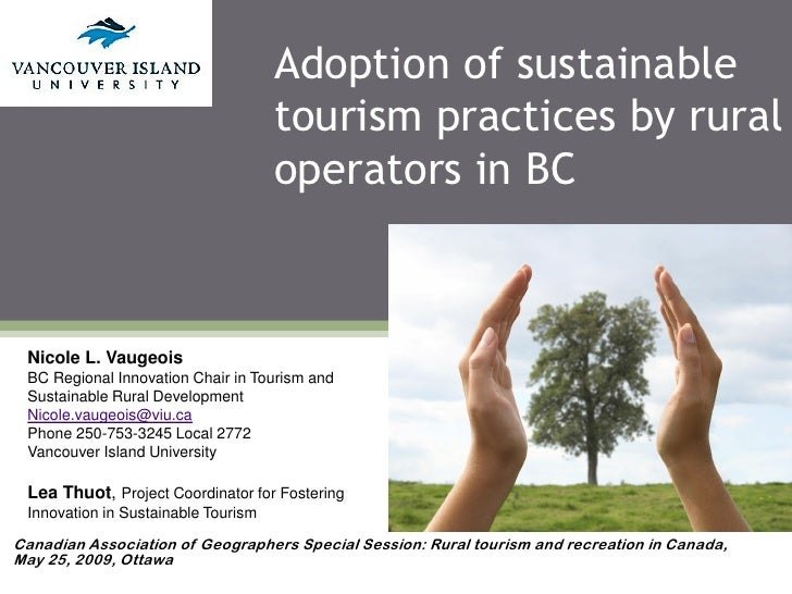 Adoption of sustainable                                      tourism practices by rural                                   ...
