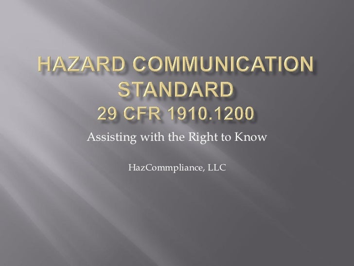 Assisting with the Right to Know       HazCommpliance, LLC