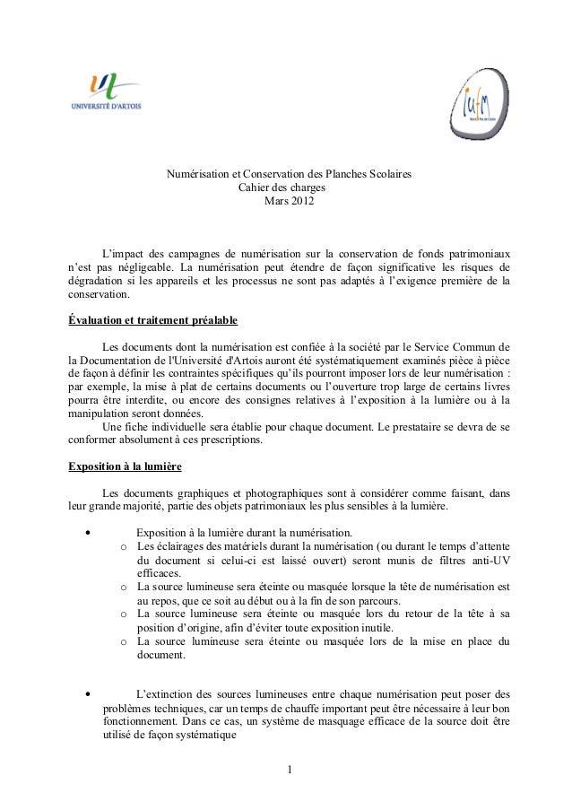 Numérisation et Conservation des Planches Scolaires                                   Cahier des charges                  ...