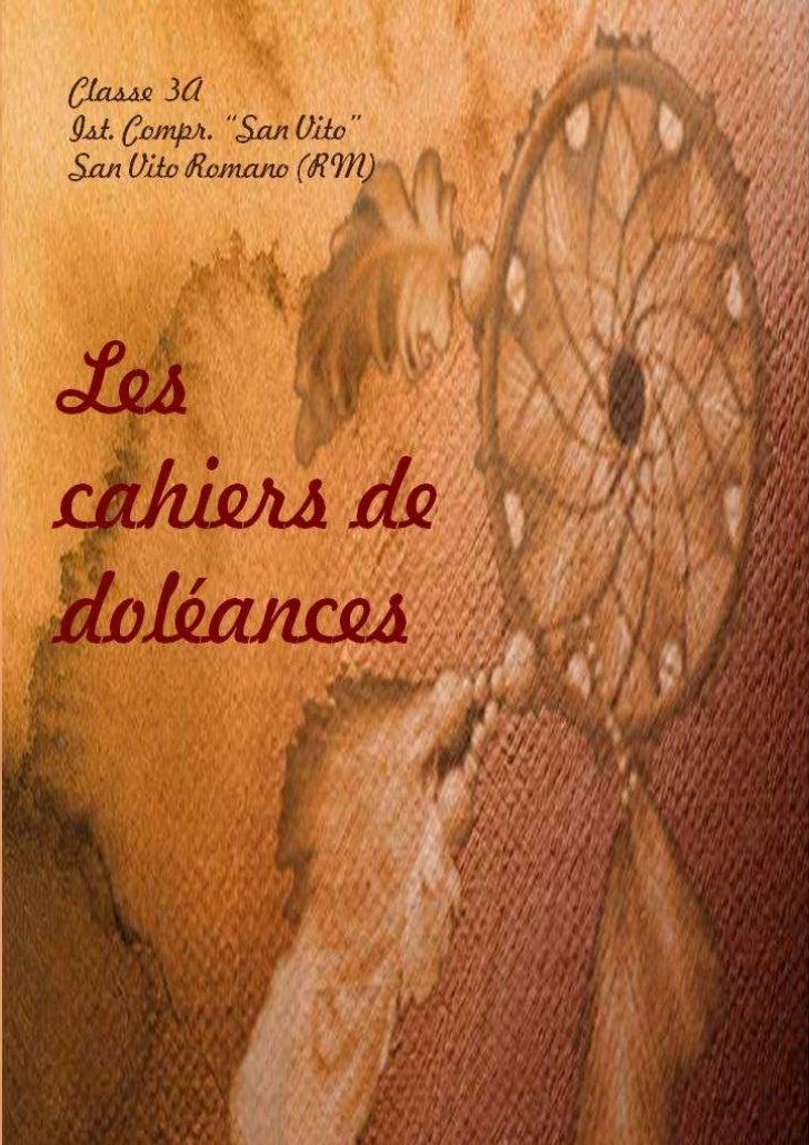 I cahiers de doléances...rivisti dai ragazzi del 2011